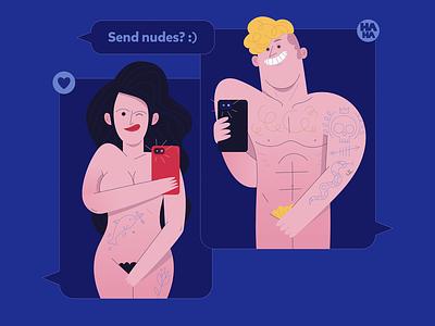 Send nudes ✏️ illustrator illustraion vector selfie tattoo girl boy naked nudes send