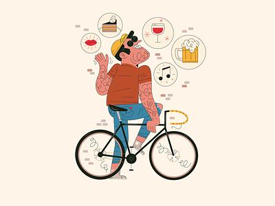 Bike trip branding urban city wall levis man boy happy cool fashion cake wine kiss beer trip bike