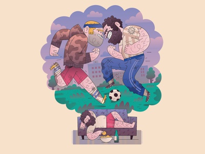 soccer dreamer city soccer logo chips happy victory logo game field home sofa rest football soccer