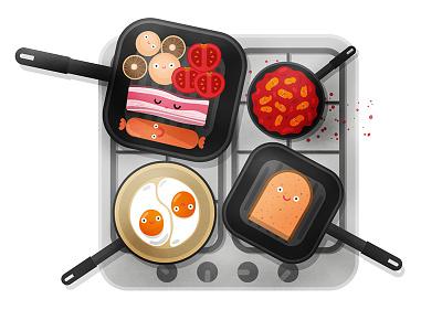 Happy English Breakfast kitchen beans potatoes ham sausage bread eggs food breakfast english happy