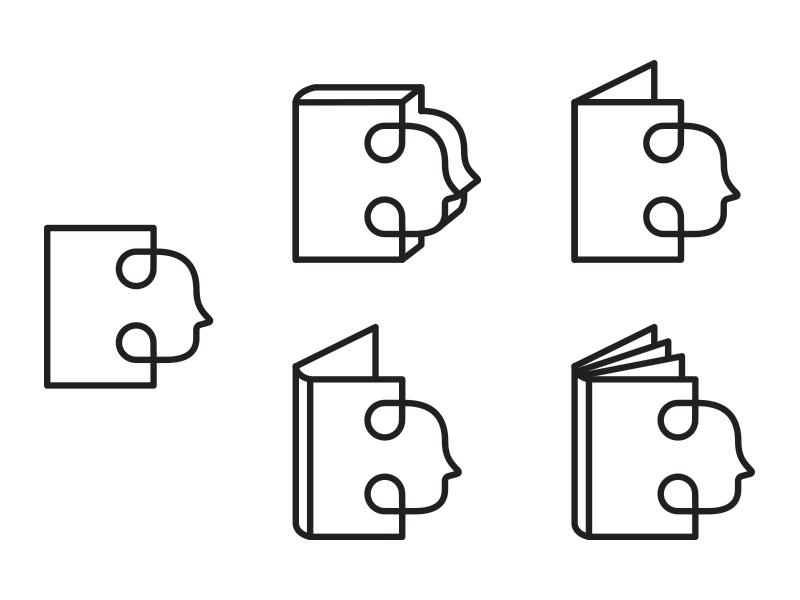 Icons - WIP work in progress icon logo logomark symbol book person line illustration vector design nikita