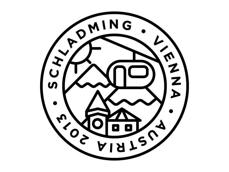 City Badge - Austria linear monoweight line illustration landscape skyline austria vienna schladming minimalist design graphic design