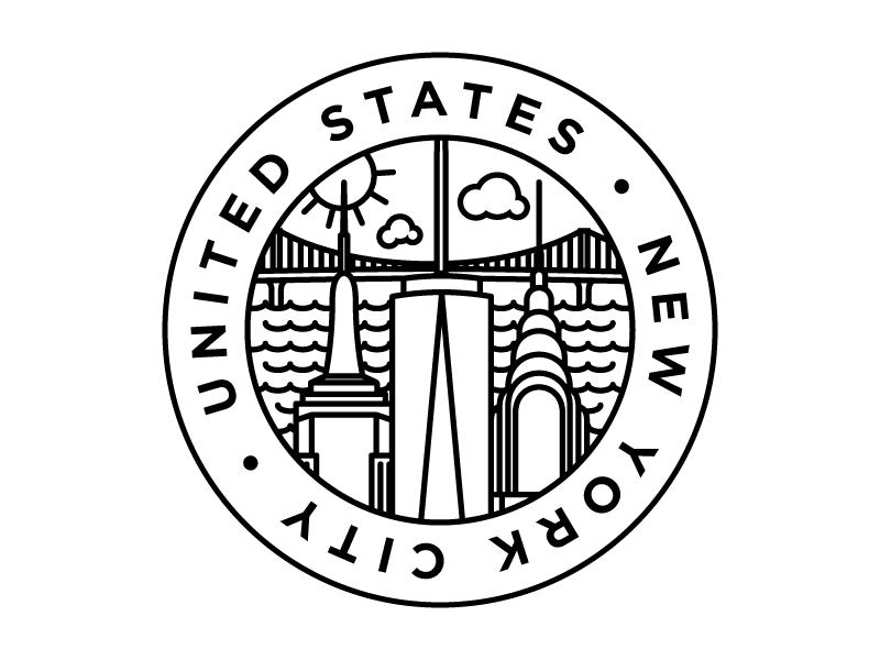 City Badges - NYC linear illustration design illustration graphic design minimalist monoweight new york city new york nyc united states usa
