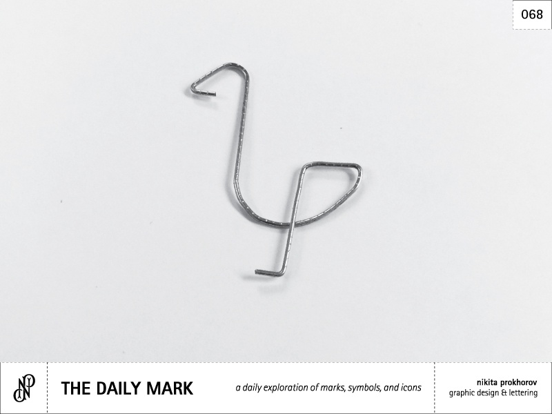 The Daily Mark 068 - Bird design logo mark logomark icon symbol graphic design simplicity paper clip metal