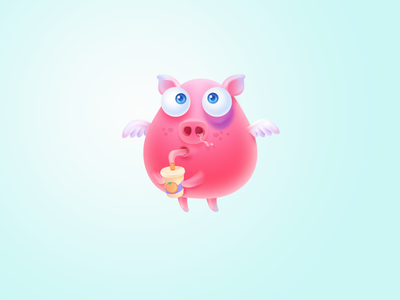 Pink Boy kid pink cartoon color illustrator cute animal ui
