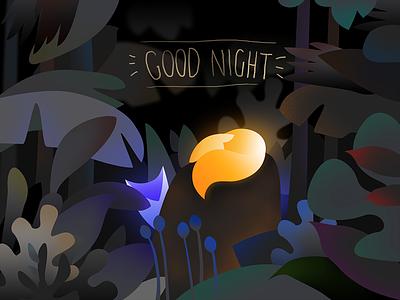 Good Night black night jungle fox art panting ui illustration