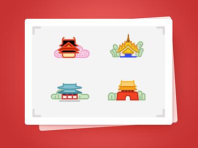 Oriental Architecture scenery,cutrul illustrate county architecture color icon ui