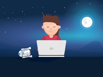Developer working late robot late working laptop moon night developer