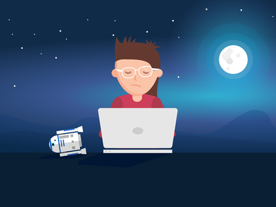 Developer working late robot late working laptop moon night developer