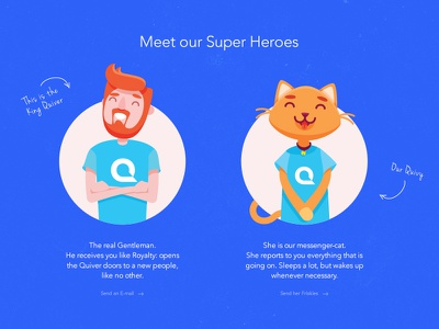 Quiver Super Heroes flat king cat illustration characters heroes quiver