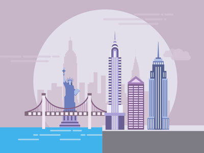 New York water buildings bridge city flat ny new york pictogram