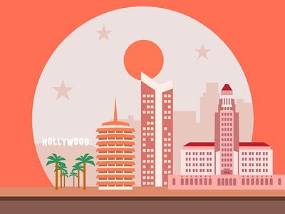 Los Angeles flat holywood buildings illustration pictogram la los angeles