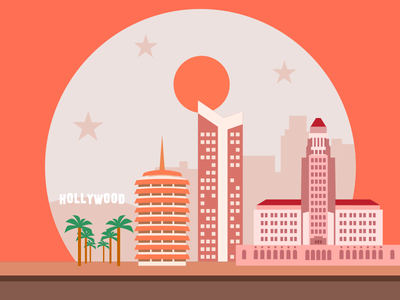 Los Angeles flat holywood buildings illustration pictogram la los angeles