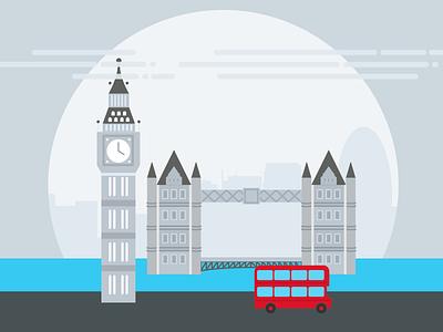 London flat city london bridge big ben illustration pictogram london