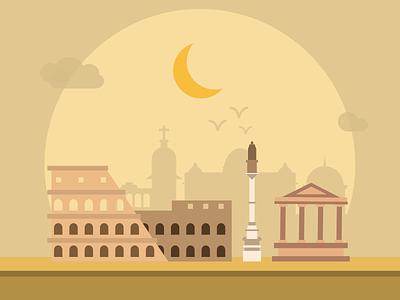 Rome flat city coliseum buildings illustration pictogram rome