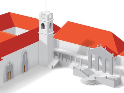 Universidade de Coimbra illustration orange building university