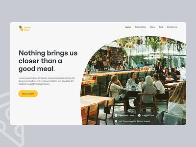 Restaurant landing/web page. cafe food restaurant landing page website typography ux ui design