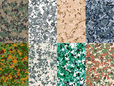 Digital Camouflage Patterns military woodland snow desert naval savanna airborne ocean arid pattern camouflage digital