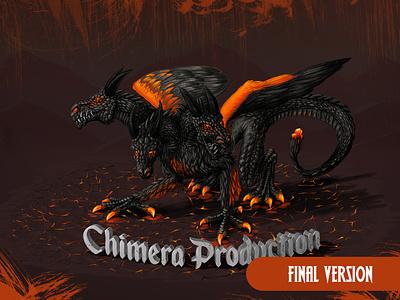 Chimera Production - Illustration new owento film draw digitaldraw drawing sketch logo illustrator 2dart 3d digitalart art dark orange eagle goat dragon illustration