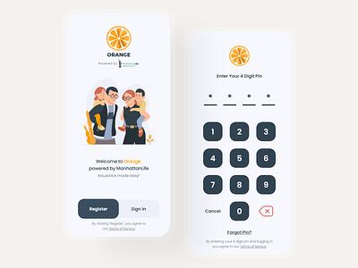 Orange - Mobile app screens home register login simple minimal graphic design flat design appdesign modern android ios app ux ui clean orange pin pincode mobile