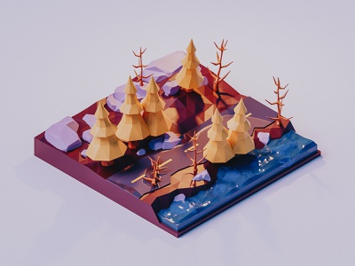 Forest isometric illustration b3d 3d illustration 3d artist cycles tree forest low poly lowpoly isometric blender