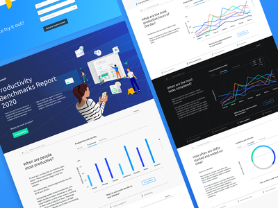 Productivity benchmarks report   Hubstaff 2x team landing layout colombia illustration ux ui 2020 design time tracking monitoring remote digital report productivity hubstaff