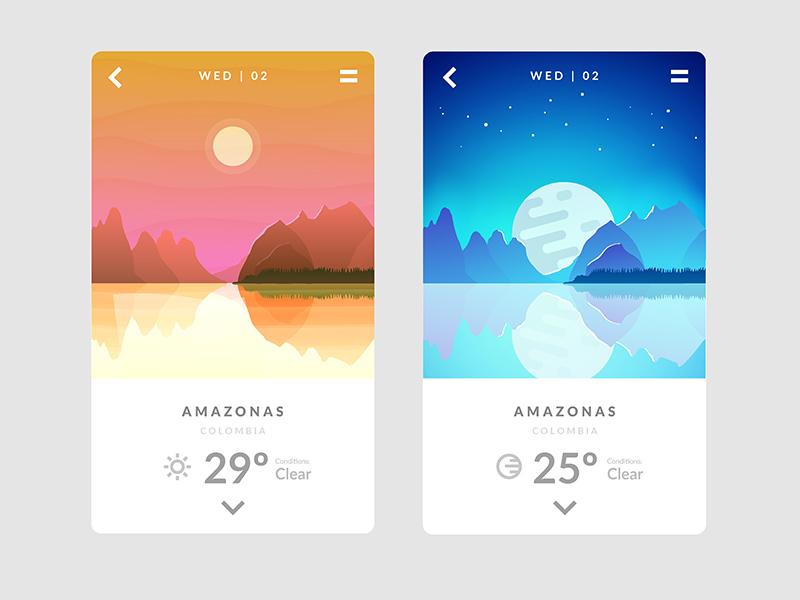 UI Weather App by Rene Agudelo on Dribbble