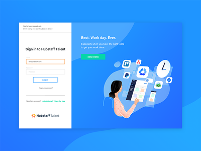 Log back in page gradient hubstaff ux ui illustration remotework freelance talent remote team logout login