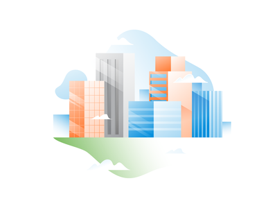 City In The Sky branding ui design timetracking onboarding remote gradient hubstaff clouds buildings sky city spot illustration hero spot spothero