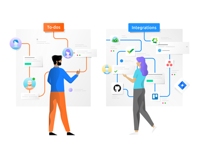 To-Dos & Integrations task app tasks to do basecamp illustration design team remote time tracking time tracker github trello asana assign management integrations