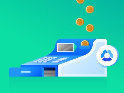 10 Ways Hubstaff Premium Can Save You Money Each Month 2x Copy management time tracking time tracker money coins cash register streamline save money team entrepreneur vector app remote illustration design