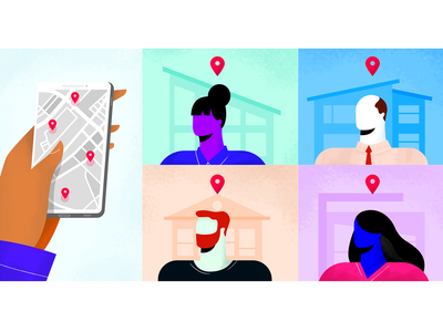 Best Real Estate Apps For Agents redesign characters startup gps geofencing hubstaff illustration mobile agents time tracking gps tracking remote apps real estate