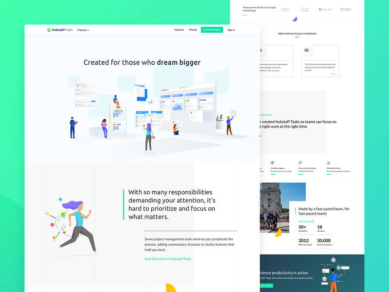 Tasks about page layout teams scrum agile kanban hubstaff ui ux remote illustration branding design