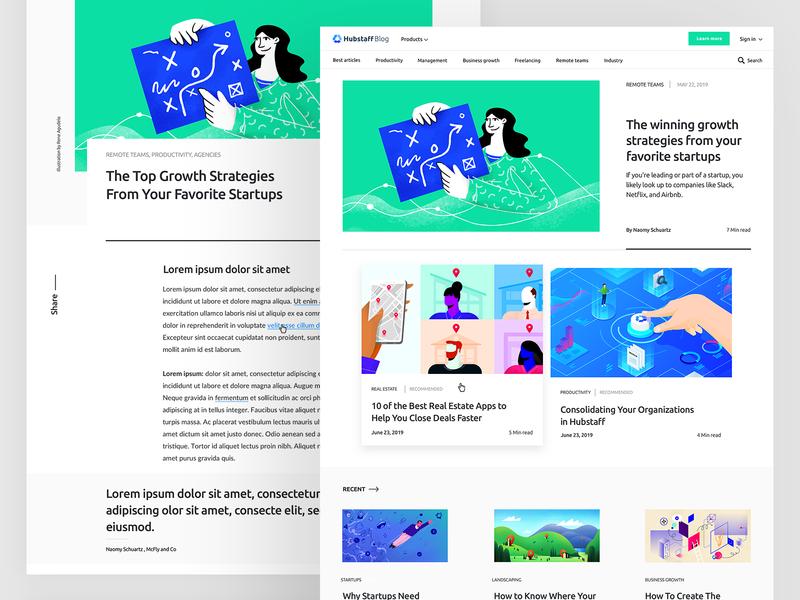 Hubstaff Blog re design composition remote layout landing blog web ux hubstaff ui illustration branding design