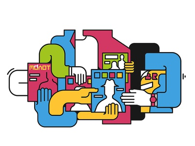 Illustration for online magazine line editorial colore art illustration