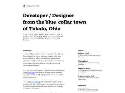 A Look At My Personal Site (1 of 7) personal typography grid clean web design