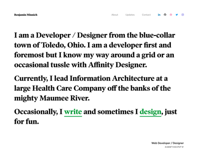 A Look At My Personal Site (2 of 7) personal blog typography grid website clean web design