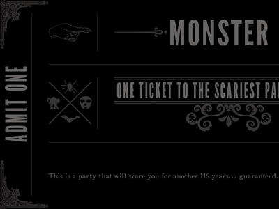 Monster Mash Ticket halloween ticket fun decor scary black and white