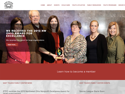 East Toledo Family Center Homepage grid web design flat large photo website