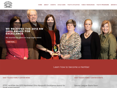 East Toledo Family Center Homepage grid web design flat large photo website