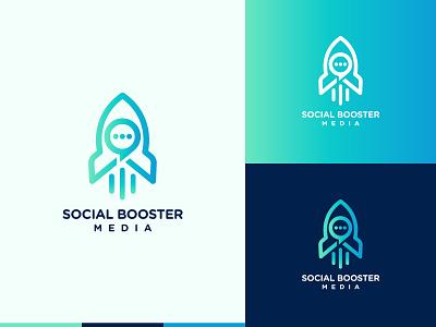 Rocket Chat Logo logodesign minimalist logos logomark flat design gradient blue chat social media social spaceship launch rocket modern logo