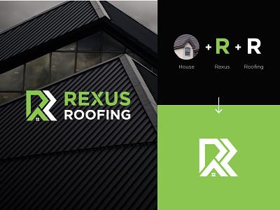 RR Roofing Logo construction roof lime branding logomark logodesign flat design logotype house logos home green design minimalist