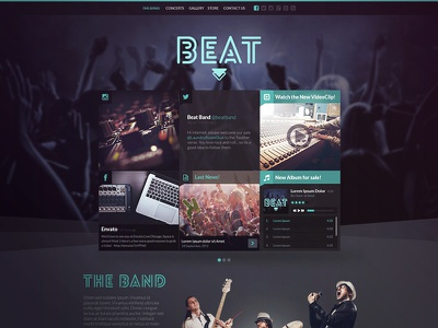 Beat - Music and Band Template webdesign web website template joomla music one page map countdown band social media responsive
