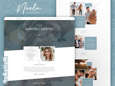 Neela Wedding Template wedding invitation engagement groom bride clean elegant modern responsive webdesign landing page multipage onepage wedding website html5 template
