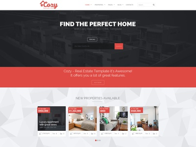 Cozy - Responsive Real Estate HTML Template webdesign template html5 real estate business corporate clean flat