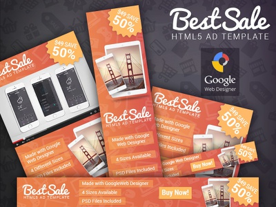 BestSale - HTML5 Promotional Banner Template google web designer gwd html5 ad banner template codecanyon adwords doubleclick promotion