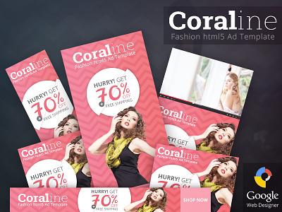 Coraline - Fashion HTML5 Ad Template google web designer gwd html5 ad banner template creative market adwords doubleclick promotion