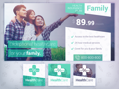 HealthCare - Social Media Cover/Profile Pack 3 health insurance health healthcare health care medical services facebook social media cover template