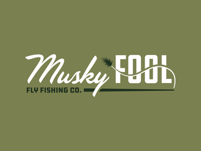 Musky Fool Fly Fishing Co. bait tackle olive branding fish wisconsin musky fly fishing fly