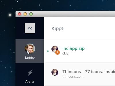 Inc, app to share knowledge within your company inc kippt sidebar minimal flat almost flat document links mac web app web